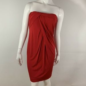 David Meister Dress Strapless Rayon Solid Red